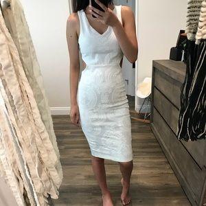 Topshop white bodycon tight cutout dress s xs 2